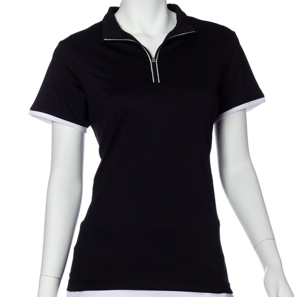 Short Sleeve Contrast Trim Convertible Collar Polo - EPNY