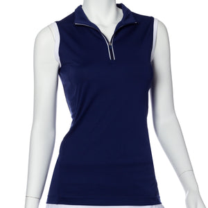 Sleeveless Contrast Trim Convertible Collar Polo