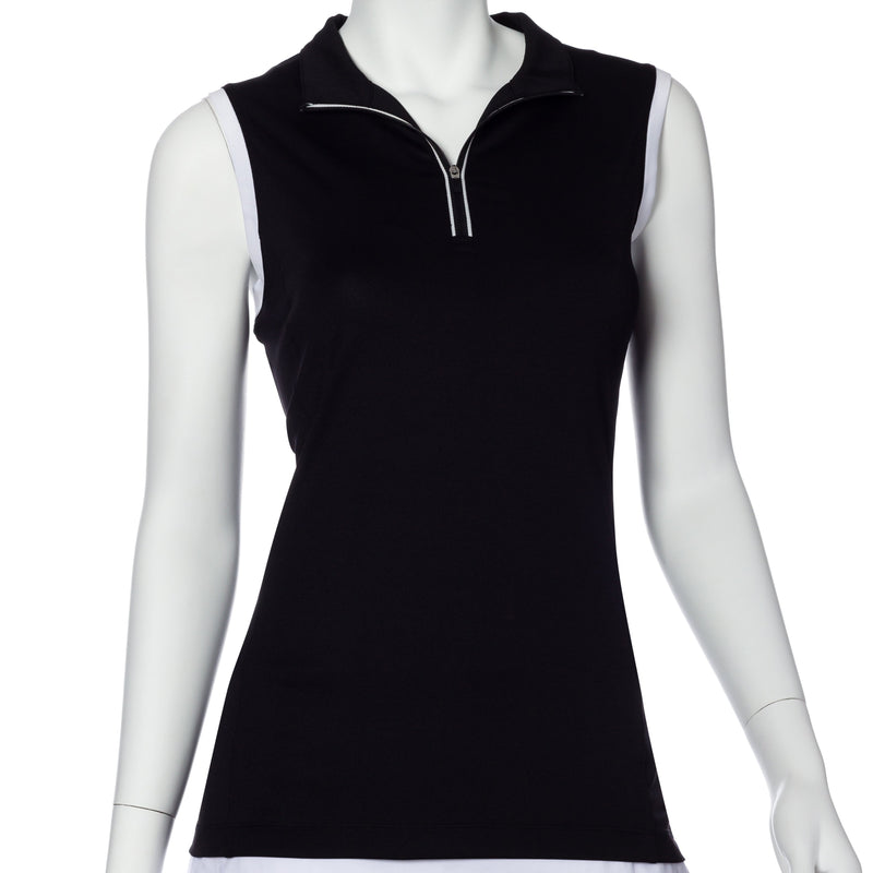 Sleeveless Contrast Trim Convertible Collar Polo - EPNY