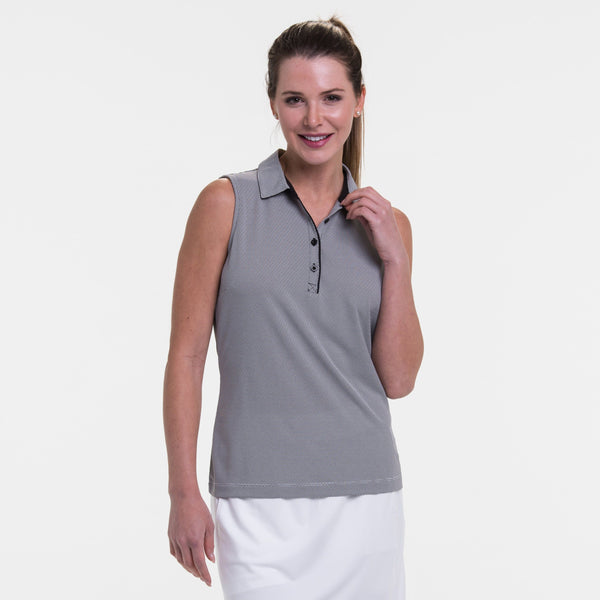 Sleeveless Geometric Jacquard Polo