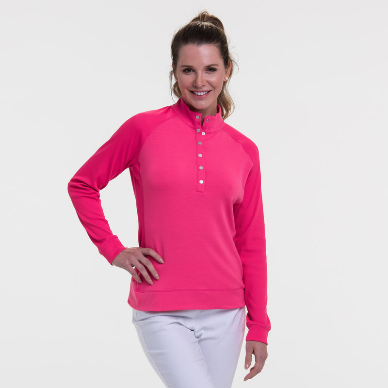 Long Sleeve Rib Trim Snap Placket Pullover