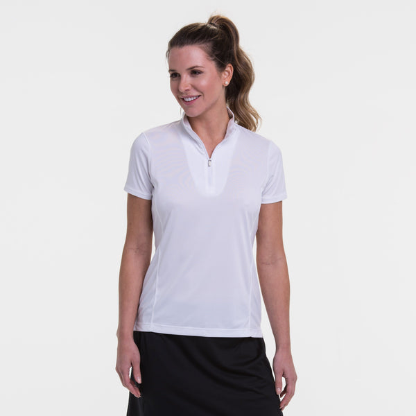 Short Sleeve Convertible Zip Mock Polo