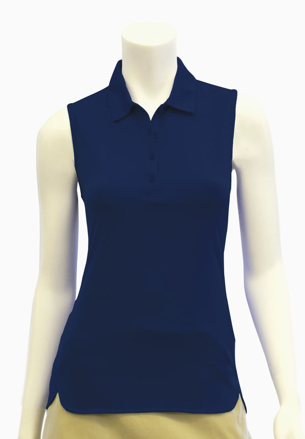 Sleeveless Polo with Curved Hem Detail - EPNY