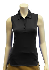 Sleeveless Polo with Curved Hem Detail
