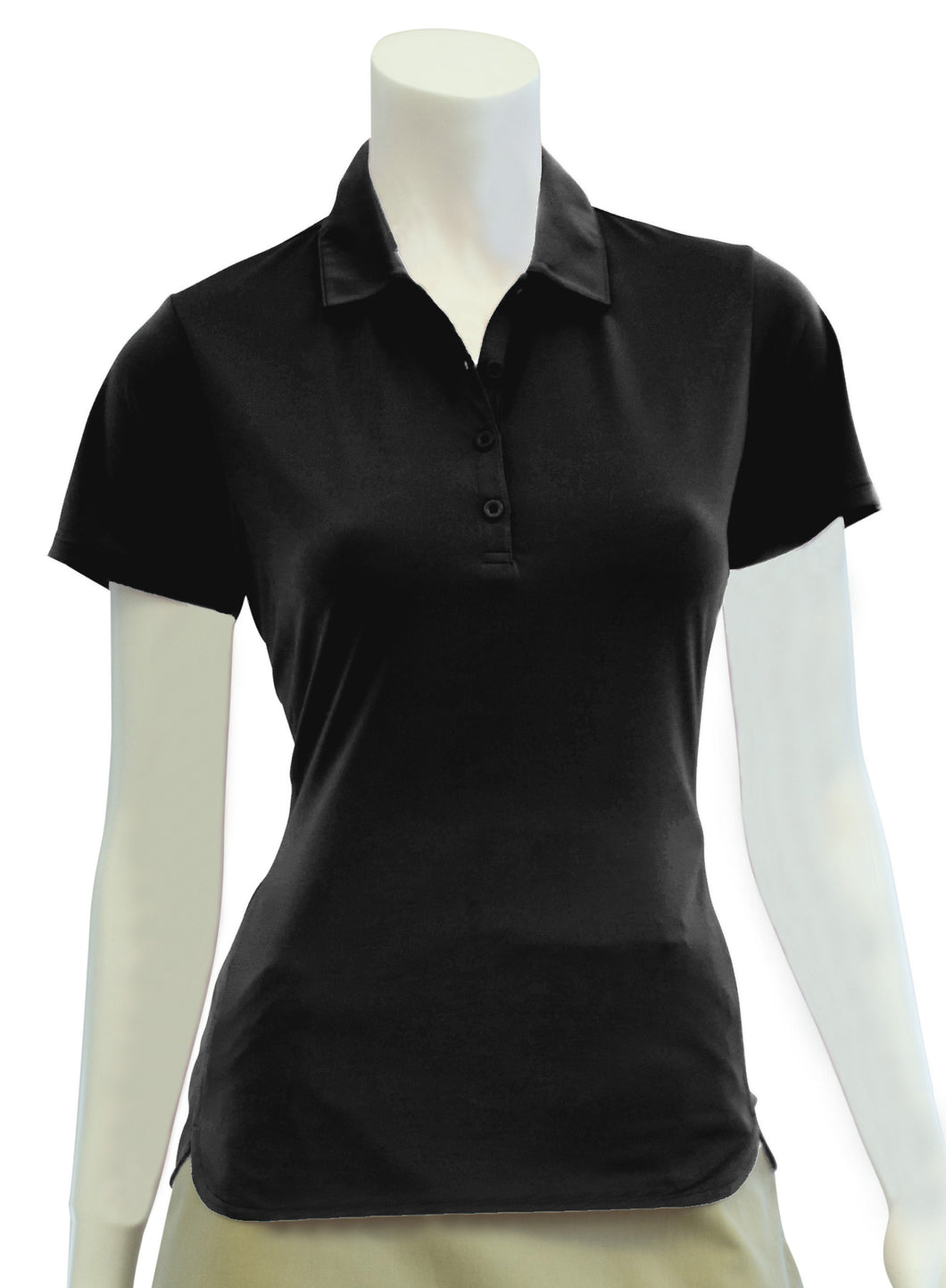 Short Sleeve Polo with Curved Hem Detail