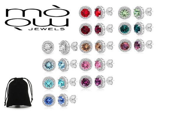 Birthstone Stud Earrings Made with Crystals Elements