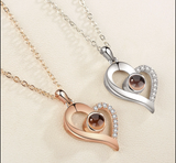 I Love You' in 100 Languages Projection Heart Necklace – 2 Colours!