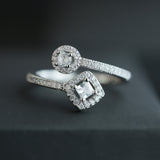 Sterling Silver Square & Round Halo Sparkle Open Ring!