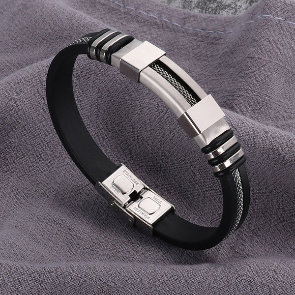Stainless Steel Rubber Bracelet Men WristBand
