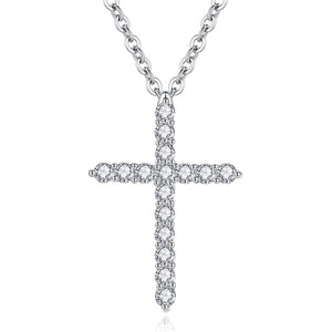 Elegant Crystal Cross Pendant Necklace