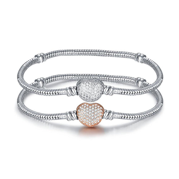 Silver Pave Hearth & Snake Chain Bracelet- 2 Colours!