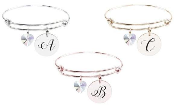 Pink Box Stainless Steel Initial Bangle with Crystals from Swarovski