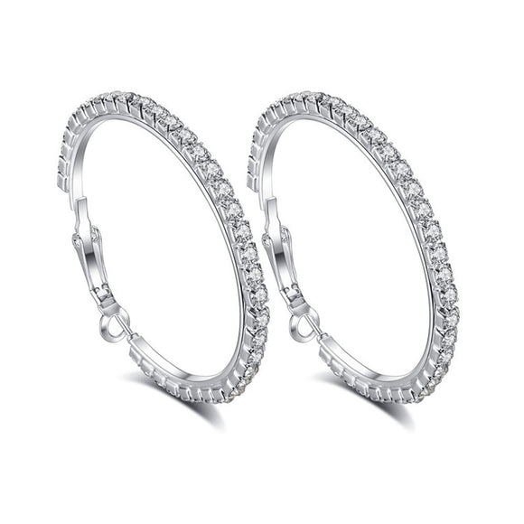 30mm Hoop Earrings with Crystals