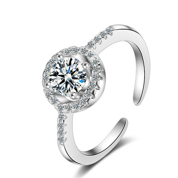 925 Silver & Zirconia Pave Set Round Halo Ring -Adjustable!