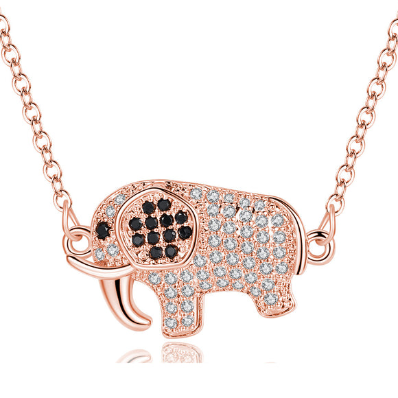 Rose Gold Crystal Elephant Necklace!