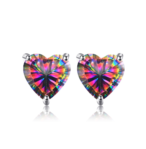Heart Natural Mystic Topaz Earrings 925 Sterling Silver