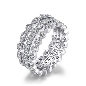 2.15ct Cubic Zirconia 3 Eternity Band Rings 925 Silver