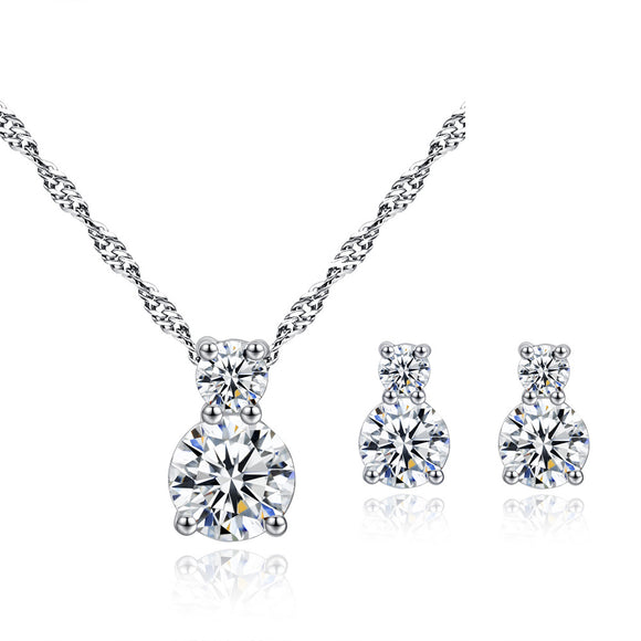 Brilliance Clear Crystal Pendant & Earring Set