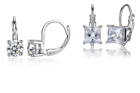 Square & Round Cubic Zirconia Hoop Earrings