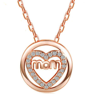 Created White Sapphire Heart Mom Necklace Silver or Rose Gold!