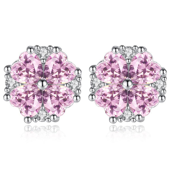 925 STERLING SILVER CUBIC ZIRCONIA PINK HEART EARRINGS