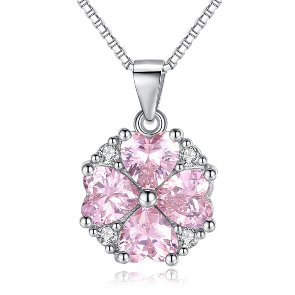 925 Sterling Silver Cubic Zirconia Pink  Heart Necklace