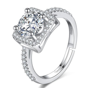 Lab Diamond Halo Square  Ring - Adjustable!
