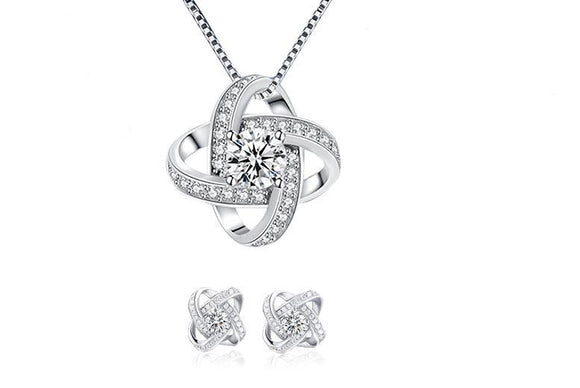 Lucky Four Leaf Clover Jewelry Set Silver 925
