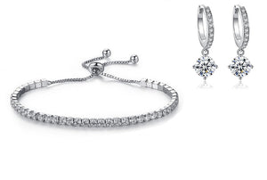 Tennis Bracelet & Huggies Earrings Set