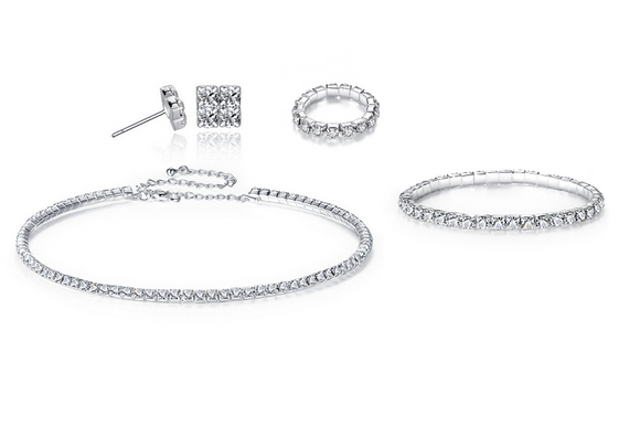 Deluxe Crystals Elements Jewellery Set - 4pieces!