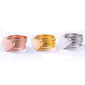 Stainless Steel Dual-use Heart-shaped Ring Change Into Bracelets