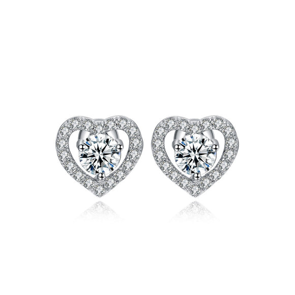Sterling Silver Heart Halo Stud Earrings