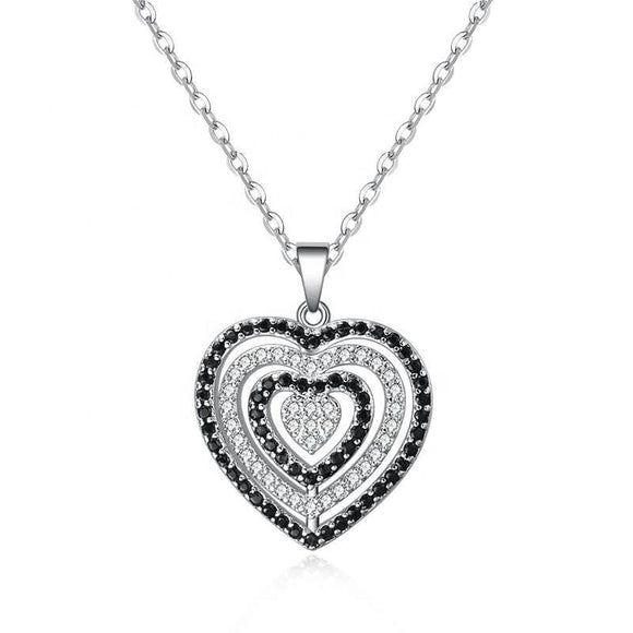 Black&White Crystals Silver 925 Heart Necklace