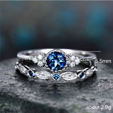 Emerald Green & Blue Sapphire CZ Diamond ring set
