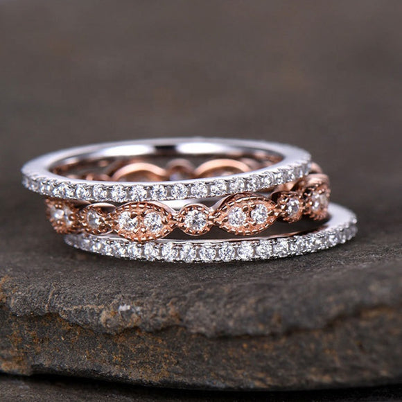 Silver & Rose Gold Plated Three-in-One Wedding Ring