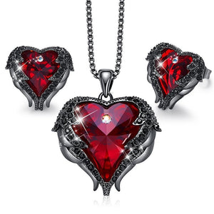 Gemstone Heart Jewellery Set