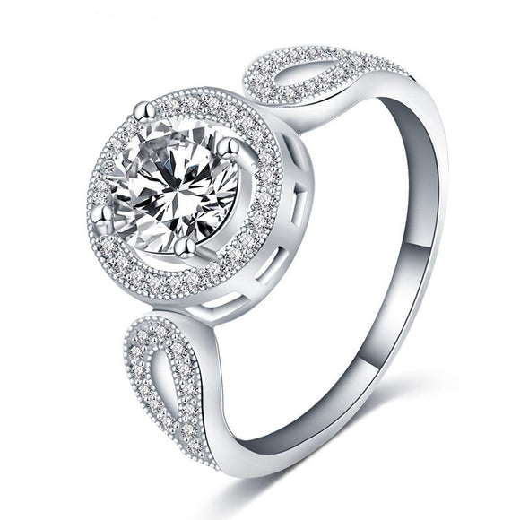 Classic Style Saudi Aabia White Gold Round Cut CZ Diamond Ring