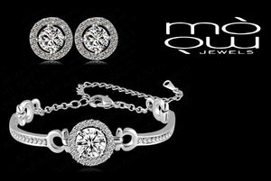 Round Cubic Zirconia Halo Bracelet and Earrings Set
