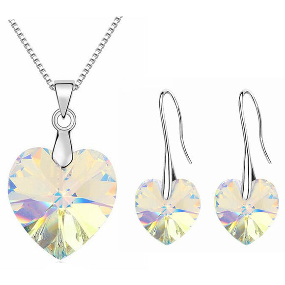 Heart Jewelry Set Made With Crystals from Swarovski AB Colours