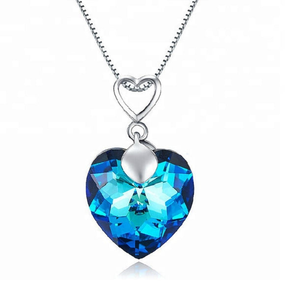 Elegant Blue Ocean Heart Necklace Crystals Swarovski Elements