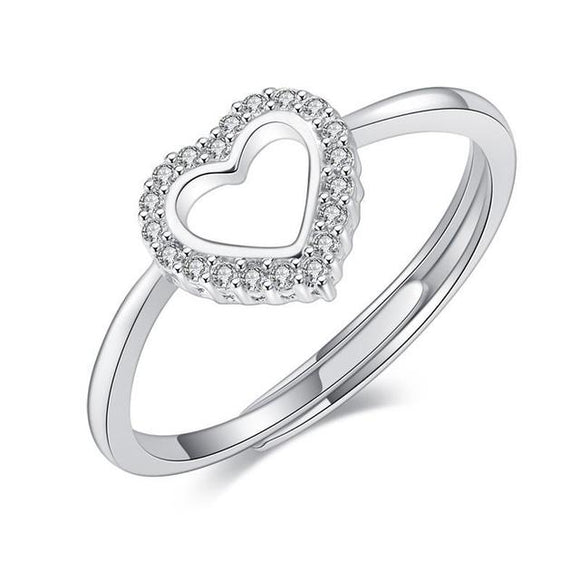 925 Sterling Silver Cubic Zirconia Heart Open Ring - Adjustable