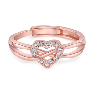 Rose Gold Infinity Heart Open Ring