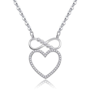 Infinity Crystal Heart Pendant Necklace