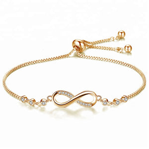 Crystals Charm Infinity Bracelet -Adjustable 2 Colours!