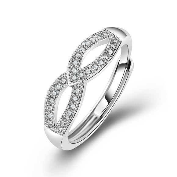 925 Sterling Silver Love Infinity Ring - Adjustable!