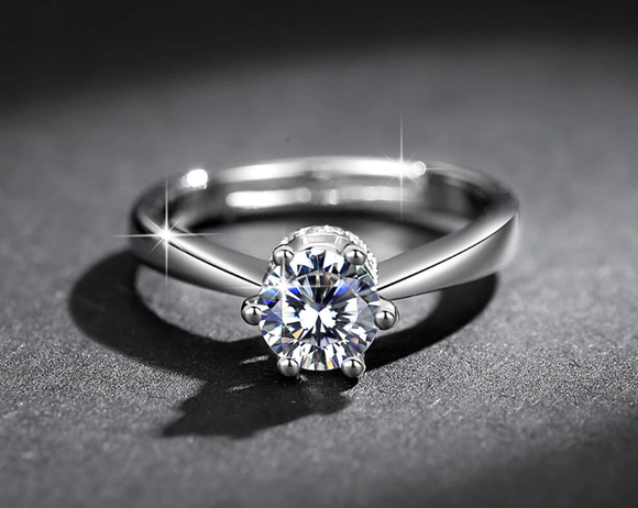 Lab Diamond Solitaire Ring - Adjustable!