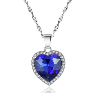 Luxury Ocean Heart Royal Blue Crystal Necklace