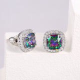 Mystic Topaz Heart & Square Halo Stud Earrings