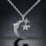 Clear Crystals Moon & Star Necklace