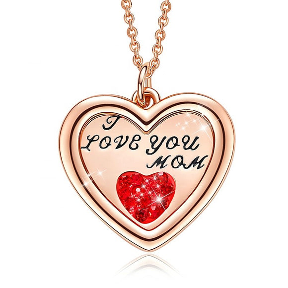 Heart in Heart I Love You Mom Necklace Crystals From Swarovski